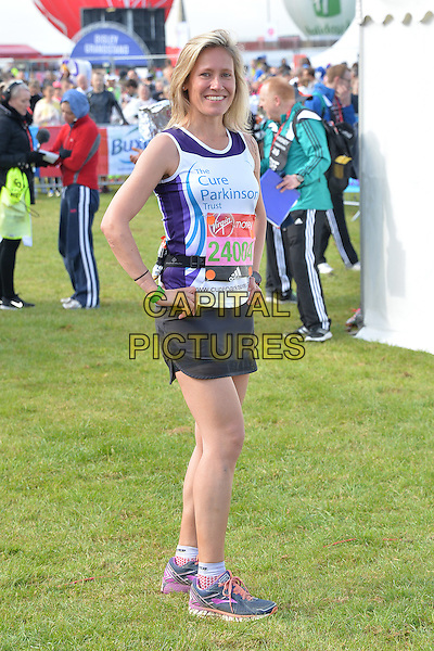 LONDON, ENGLAND - APRIL 24   Sophie Raworth at the start of the 2016 Virgin Money London Marathon on Blackheath in London, England. 24th April 2016.<br /> CAP/JWP<br /> &copy;JWP/Capital Pictures