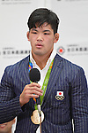 Shohei Ono (JPN), <br /> AUGUST 15, 2016 - Judo : <br /> Japaese Judo medalist attend a media conference at Narita Airport in Chiba, Japan. Japanese Judo players won 3 gold medals, 1 silver medal and 8 bronze medals in the Rio 2016 Olympic Games. (Photo by AFLO SPORT)