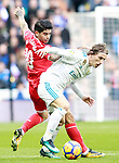 Real Madrid's Luka Modric (r) and Sevilla FC's Ever Banega during La Liga match.December 09,2017. (ALTERPHOTOS/Acero)