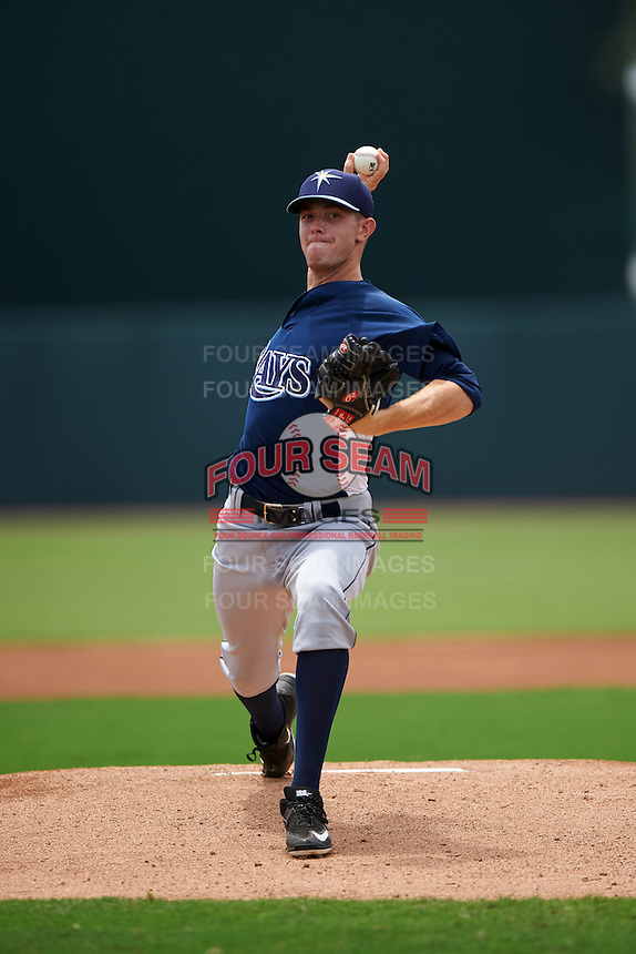 GCL Rays pitcher Ty Nichols (19) delivers a pitch during the second game of a doubleheader against the GCL Orioles on August 1, 2015 at the Ed Smith Stadium in Sarasota, Florida.  GCL Orioles defeated the GCL Rays 11-4.  (Mike Janes/Four Seam Images)