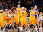 SIOUX FALLS, SD - MARCH 12:  The South Dakota State University Women's team celebrate following the Jackrabbits 56-53 win over the University of South Dakota at the 2013 Women's Summit League Championship Game on Tuesday afternoon at the Sioux Falls Arena. (Photo by Dave Eggen/Inertia)