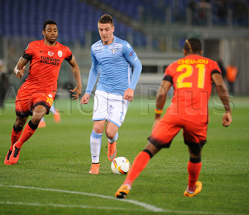 25.02.2016. Stadio Olimpico, Rome, Italy. Uefa Europa League, Return leg of SS Lazio versus Galatasaray. Sergej Milinkovic-Savi in action