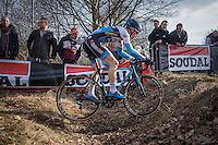 Kevin Pauwels (BEL/Marlux - Napoleon Games) crossing the ditch<br /> <br /> men's race<br /> CX Soudal Classics Leuven/Belgium 2017