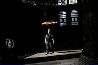 ISTANBUL - MAY 29, 2007:  A man walks in Hagia Sofia in  Istanbul, Turkey. Photo by Landon Nordeman.