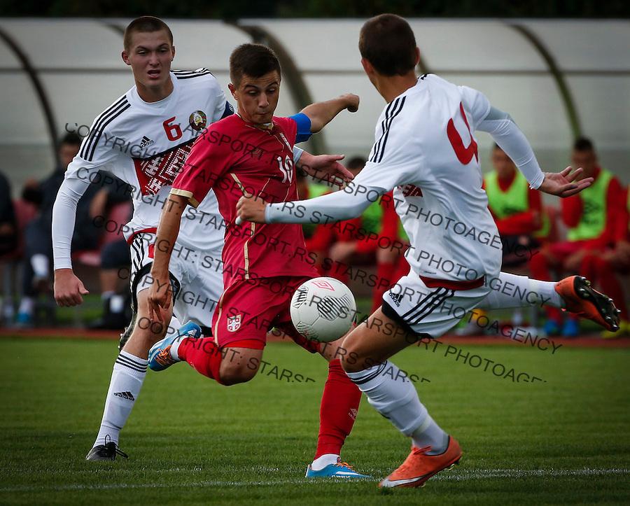Fudbal Soccer<br /> International Friendly-Prijateljski mec<br /> Srbija U17 v Belorusiaj U17<br /> Armin Djerlek (C)<br /> Stara Pazova, 20.09.2016<br /> foto: Srdjan Stevanovic/Starsportphoto &copy;