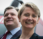 © Joel Goodman - 07973 332324 . 14/06/2016 . Blackburn , UK . Yvette Cooper MP and her husband , former MP Ed Balls , campaign for Remain , in the EU referendum , at Shadsworth Children's Centre in Blackburn . Photo credit : Joel Goodman