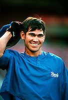 Johnny Damon of the Kansas City Royals during a game at Anaheim Stadium in Anaheim, California during the 1997 season.(Larry Goren/Four Seam Images)