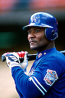 Trinidad Hubbard of the Los Angeles Dodgers participates in a Major League Baseball game at Dodger Stadium during the 1998 season in Los Angeles, California. (Larry Goren/Four Seam Images)