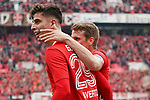 11.05.2019, BayArena, Leverkusen, GER, 1. FBL, Bayer 04 Leverkusen vs. FC Schalke 04 ,<br />  <br /> DFL regulations prohibit any use of photographs as image sequences and/or quasi-video<br /> <br /> im Bild / picture shows: <br /> Torjubel / Jubel / Jubellauf,    Kai Havertz (Leverkusen #29), mit Lars Bender (Leverkusen #8),  1:0<br /> <br /> Foto &copy; nordphoto / Meuter