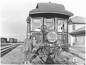 End of observation car with Shavano drum head.<br /> D&amp;RGW  Alamosa, CO