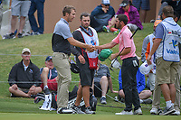Seamus Power (IRL) shakes hands with Paul McConnell (USA) following Round 2 of the Valero Texas Open, AT&amp;T Oaks Course, TPC San Antonio, San Antonio, Texas, USA. 4/20/2018.<br /> Picture: Golffile | Ken Murray<br /> <br /> <br /> All photo usage must carry mandatory copyright credit (&copy; Golffile | Ken Murray)
