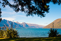 Queenstown Bay and Lake Wakatipu in Autumn. Queenstown is know as one of the most visited tourist destinations on New Zealand's South Island thanks to its wealth of adventure activities, many of which revolve around Lake Wakatipu.