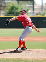 Brian Diemer #95 of the Los Angeles Angels plays in a minor league spring training game against the Colorado Rockies at the Angels minor league complex on March 23, 2011  in Tempe, Arizona. .Photo by:  Bill Mitchell/Four Seam Images.