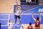 07 MAY: Ben Patch (13) of Brigham Young University goes for a kill against Ohio State University during the Division I Men's Volleyball Championship held at Rec Hall on the Penn State University campus in University Park, PA. Ohio State defeated BYU 3-1 for the national title. Ben Solomon/NCAA Photos