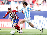 Atletico de Madrid's Yannick Carrasco (l) and Malaga CF's Pablo during La Liga match. April 23,2016. (ALTERPHOTOS/Acero)