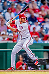 26 September 2018: Washington Nationals shortstop Trea Turner at bat against the Miami Marlins at Nationals Park in Washington, DC. The Nationals defeated the visiting Marlins 9-3, closing out Washington's 2018 home season. Mandatory Credit: Ed Wolfstein Photo *** RAW (NEF) Image File Available ***