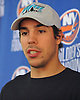 Travis Hamonic of the New York Islanders speaks with reporters at the Long Island Marriott in Uniondale on Thursday, Sept. 22, 2016.
