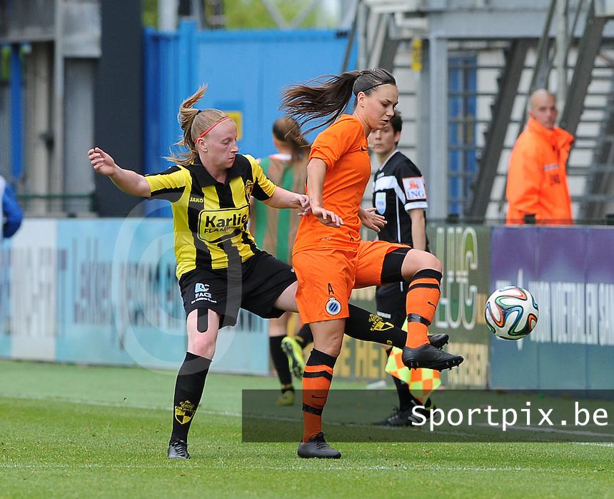 Bekerfinale vrouwen 2015 : Lierse-Club Brugge Vrouwen <br /> <br /> Jassina Blom (R) is sneller op de bal dan Silke Leynen (L)<br /> <br /> foto VDB / BART VANDENBROUCKE