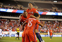 Philadelphia, PA - Tuesday June 14, 2016: Arturo Vidal, Jean Beausejour, Gonzalo Jara, Alexis Sanchez goal during a Copa America Centenario Group D match between Chile (CHI) and Panama (PAN) at Lincoln Financial Field.