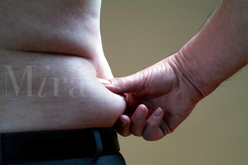 Pinch an inch around the waist of a fat man. (r