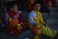 MEXICALI,  MEXICO - February 13. Chinese-Mexican kid wait for the Chinese New Year Bicultural Celebration on February 13, 2019 in Mexicali, Mexico.<br /> The relations between Mexico and the People's Republic of China begin at the beginning of the decade from 1910 until today, making Mexicali one of the cities with the largest Chinese population in the country. Establishing strong commercial and cultural ties with Mexico.<br /> (Photo by Luis Boza/VIEWpress)