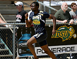 FARGO, ND - MAY 13: Omeiza Ackerele from Oral Roberts sprints to the finish line en route to winning the men's 400 meter dash Saturday at the 2017 Summit League Outdoor Track Championship at the Ellig Sports Complex in Fargo, ND. (Photo by Dave Eggen/Inertia)