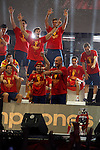 02.07.2012. Pepe Reina and Andres Iniesta during Tour of Madrid of the Spanish football team to celebrate their victory in Euro 2012 july 2012.(ALTERPHOTOS/ARNEDO)