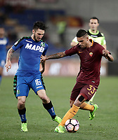 Calcio, Serie A: Roma, stadio Olimpico, 19 marzo, 2017<br /> Roma's Emerson Palmieri in action with Sassuolo's Matteo Politano during the Italian Serie A football match between Roma and Sassuolo at Rome's Olympic stadium, March 19, 2017<br /> UPDATE IMAGES PRESS/Isabella Bonotto