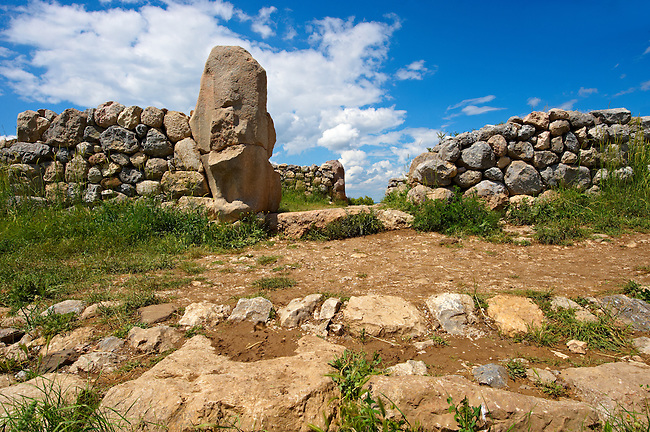 Photo of the Hittite releif sculpture on the Sphinx  gate to the Hittite capital Hattusa