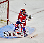 18 December 2008: Montreal Canadiens' goaltender Jaroslav Halak from the Slovak Republic has one glance off his shoulder over the net during the second period against the Philadelphia Flyers at the Bell Centre in Montreal, Quebec, Canada. The Canadiens, trying to avoid a four-game slide, defeated the Flyers 5-2, thus ending Philadelphia's 5-game winning streak. ***** Editorial Sales Only ***** Mandatory Photo Credit: Ed Wolfstein Photo