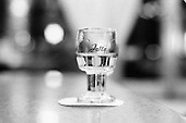 Czech Republic. Jalta vodka shot glass on table in a cafe.