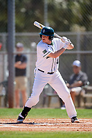 Dartmouth Big Green first baseman Michael Calamari (3) at bat during a game against the Villanova Wildcats on March 3, 2018 at North Charlotte Regional Park in Port Charlotte, Florida.  Dartmouth defeated Villanova 12-7.  (Mike Janes/Four Seam Images)