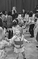 Anna Scher in head band.  Anna Scher Children's Theatre, East End of London 1972.  Kids would come after school and be expected to work hard.  Occasionally, they would have bits of filming to do for the BBC etc..  Some went on to have careers in the industry and a few became household names: Pauline Quirk, Phil Daniels.