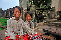 Two young cambodian girls, Angkor Wat, Cambodia
