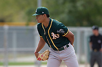 Oakland Athletics starting pitcher Jesus Luzardo (54) looks to his catcher for the sign during a Minor League Spring Training game against the Chicago Cubs at Sloan Park on March 13, 2018 in Mesa, Arizona. (Zachary Lucy/Four Seam Images)