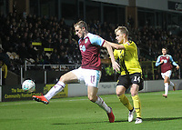 Burnley's Chris Wood battles with Burton Albion's Damien McCrory<br /> <br /> Photographer Mick Walker/CameraSport<br /> <br /> The Carabao Cup Round Three   - Burton Albion  v Burnley - Tuesday  25 September 2018 - Pirelli Stadium - Buron On Trent<br /> <br /> World Copyright © 2018 CameraSport. All rights reserved. 43 Linden Ave. Countesthorpe. Leicester. England. LE8 5PG - Tel: +44 (0) 116 277 4147 - admin@camerasport.com - www.camerasport.com