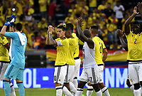 BARRANQUILLA – COLOMBIA - 23 – 03 -2017: Los jugadores de Colombia celebran la victoria sobre Bolivia, durante partido entre los seleccionados de Colombia y Bolivia, de la fecha 13 válido por la clasificación a la Copa Mundo FIFA Rusia 2018, jugado en el estadio Metropolitano Roberto Melendez en Barranquilla. /  The players of Colombia celebrate the victory against Bolivia, during match between the teams of Colombia and Bolivia, of the date 13 valid for the Qualifier to the FIFA World Cup Russia 2018, played at Metropolitan stadium Roberto Melendez in Barranquilla. Photo: VizzorImage / Luis Ramirez / Staff.