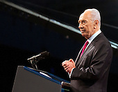 President of Israel Shimon Peres speaks at the American Israel Public Affairs Committee (AIPAC) Policy Conference in Washington, D.C. on Sunday, March 4, 2012 prior to United States President Barack Obama delivering his remarks. .Credit: Ron Sachs / Pool via CNP