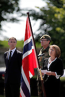 Norwegian soldiers receive medals after a tour with International Security Assistance Force (ISAF), Afghanistan. Prime Minister Jens Stoltenberg and Defense Minister Grete Faremo attended the ceremony held at Akershus Castle in Oslo.
