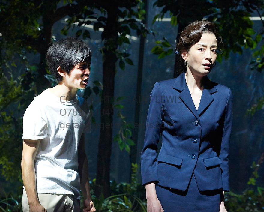 Kafka on the Shore. Based on the work by Hauki Murakami,adapted for the stage by Frank Galati. A Ninagawa Company Production directed by Yukio Ninagawa With Nino Furuhata as Kafka, Rie Miyazawa as Miss Saeki. Opens at The Barbican Theatre  on 28/5/15. CREDIT Geraint Lewis