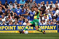 Grant Hanley of Norwich City challenges Che Adams of Birmingham City during Birmingham City vs Norwich City, Sky Bet EFL Championship Football at St Andrews on 4th August 2018