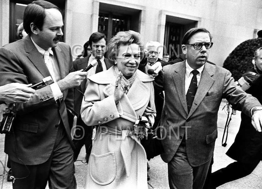 Washington DC. 1973. Rose Mary Woods, the Nixon White House secretary whose improbable stretch was supposed to account for part of an 18 1/2-minute gap in a crucial Watergate tape. A break in at the Democratic National Committee headquarters at the Watergate complex on June 17, 1972 results in one of the biggest political scandals the US government has ever seen.  Effects of the scandal ultimately led to the resignation of  President Richard Nixon, on August 9, 1974, the first and only resignation of any U.S. President.