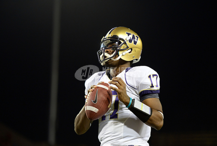 Oct. 20, 2012; Tempe, AZ, USA; Washington Huskies quarterback (17) Keith Price against the Arizona Wildcats at Arizona Stadium. Mandatory Credit: Mark J. Rebilas-USA TODAY Sports