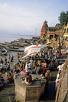 People performing ablutions in the Ganges, Varanasi, India.