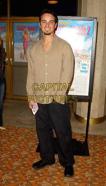 KERR SMITH.L.A. screening of Legally Blonde 2: Red, White & Blonde at the Mann National Theatre.www.capitalpictures.com.sales@capitalpictures.com.© Capital Pictures.full length, full-length, black trousers, beige shirt
