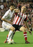 2.05.2012. Bilbao, Spain. La Liga. Real Madrid beat Athelicto de Bilbao 0-3 at San Mames stadium  and   is new La Liga championship. Picture show Xavi Alonso