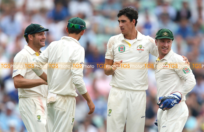 Mitchell Starc of Australia celebrates after taking the wicket of Jonathan Trott - England vs Australia - 3rd day of the 5th Investec Ashes Test match at The Kia Oval, London - 23/08/13 - MANDATORY CREDIT: Rob Newell/TGSPHOTO - Self billing applies where appropriate - 0845 094 6026 - contact@tgsphoto.co.uk - NO UNPAID USE