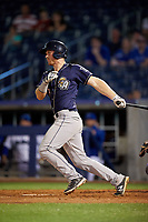 San Antonio Missions catcher Stephen McGee (9) follows through on a swing during a game against the Tulsa Drillers on June 1, 2017 at ONEOK Field in Tulsa, Oklahoma.  Tulsa defeated San Antonio 5-4 in eleven innings.  (Mike Janes/Four Seam Images)