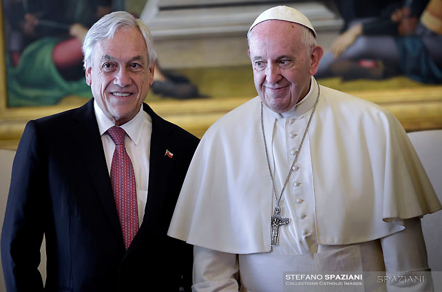 Chile's President Sebastian Pinera meets Pope Francis during a private audience at the Vatican October 13, 2018.