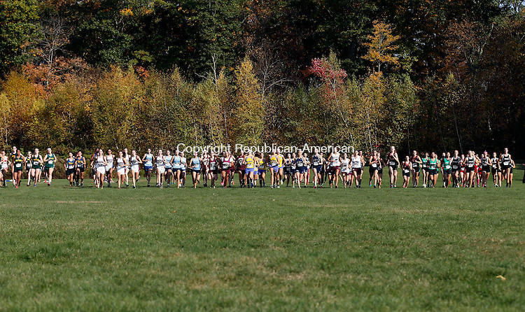 Watertown, CT- 21 October 2015-102115CM06-  Girls begin the varsity race during the XC championships at Veterans Memorial Park in Watertown on Wednesday.  Oxford's Kristen Barbaris was the girls overall winner, with Derby taking the team title.     Christopher Massa Republican-American